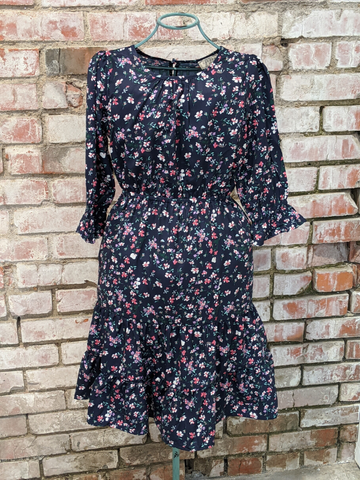 GIRLS Navy Floral Ruffled Hem Dress