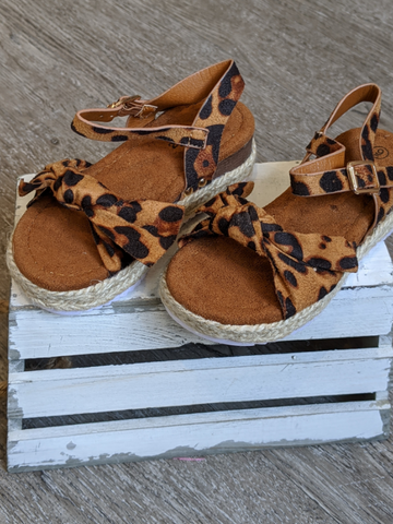 GIRLS Cheetah Bow Espadrille Sandal
