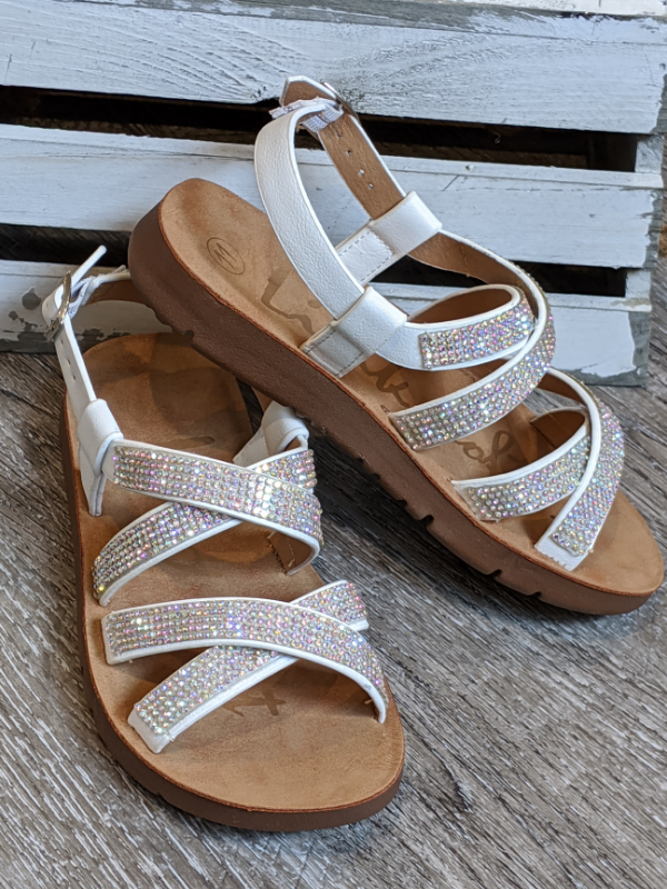 GIRLS White Glitter Criss Cross Sandal