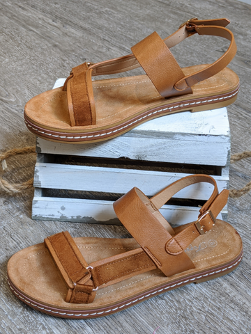 FOREVER Tan Suede & Leather Mixed Sandal