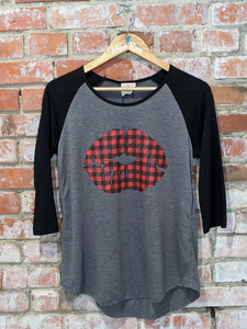 Buffalo Plaid Lips Raglan
