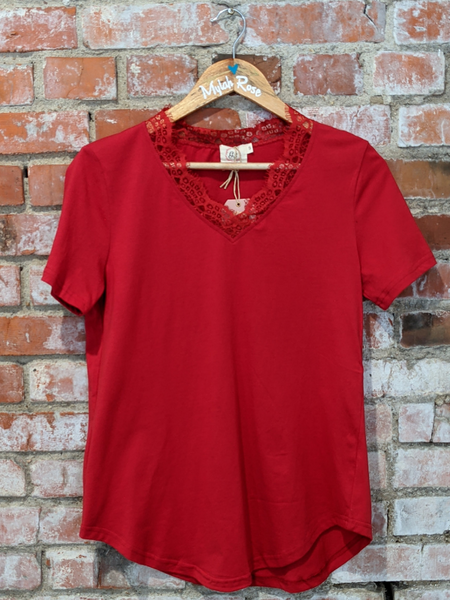 Lacey's Red V-Neck Tee