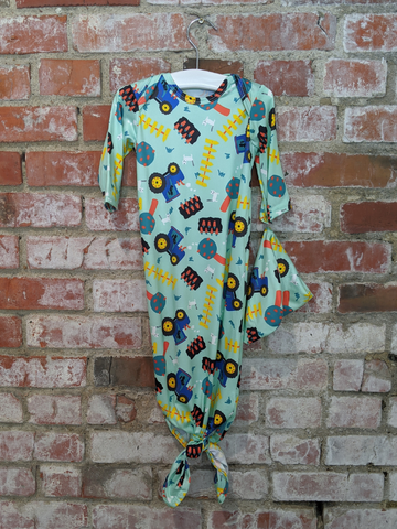 Boys Blue Tractor Gown Set