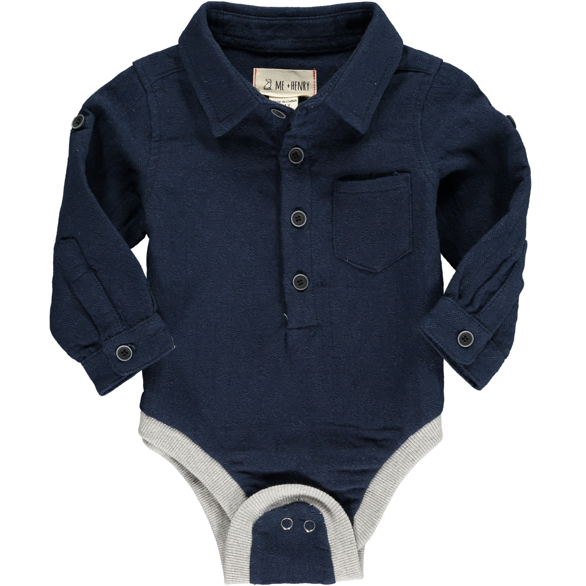 ME&HENRY Woven Navy Button Up Onesie