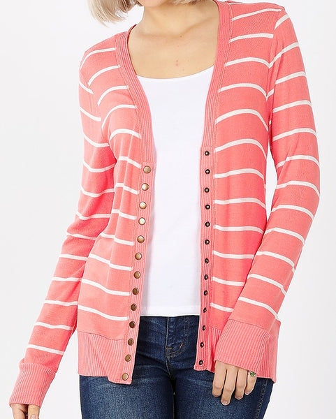 Striped Snap Down PLUS Cardigan