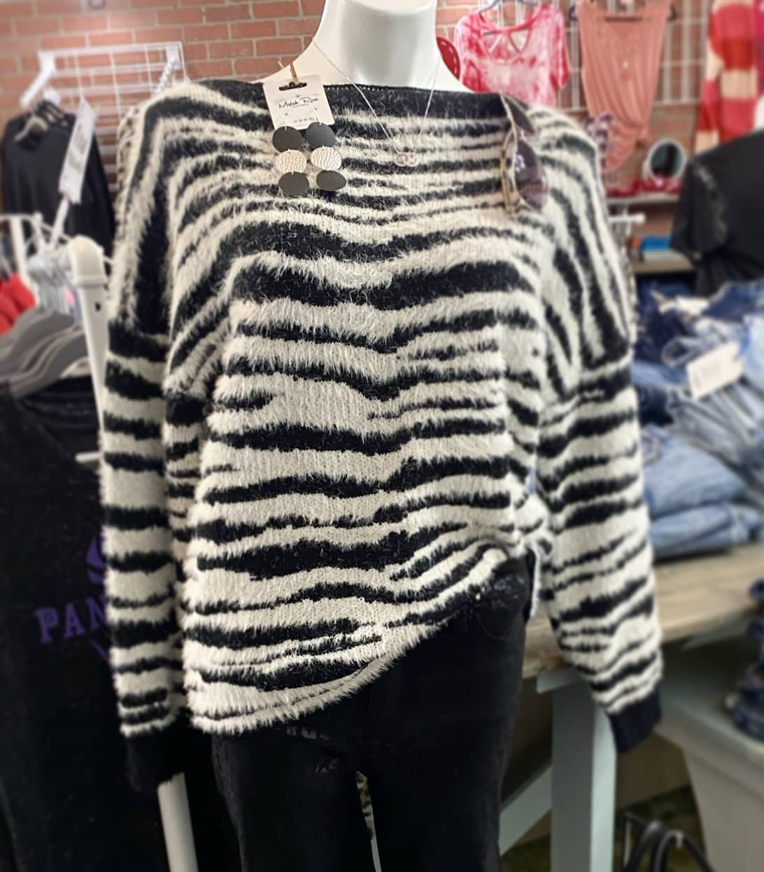 Zebra Patterned Mohair Sweater