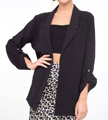 Rolled Sleeve Long Blazer