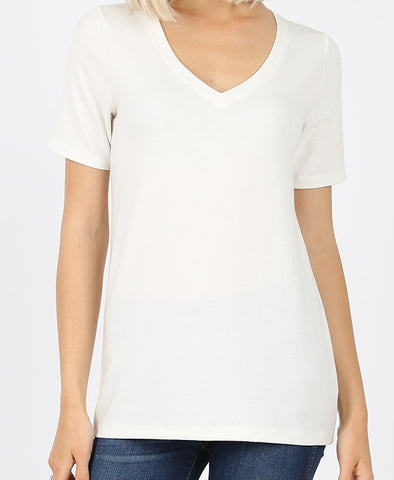 Solid V Neck Tee