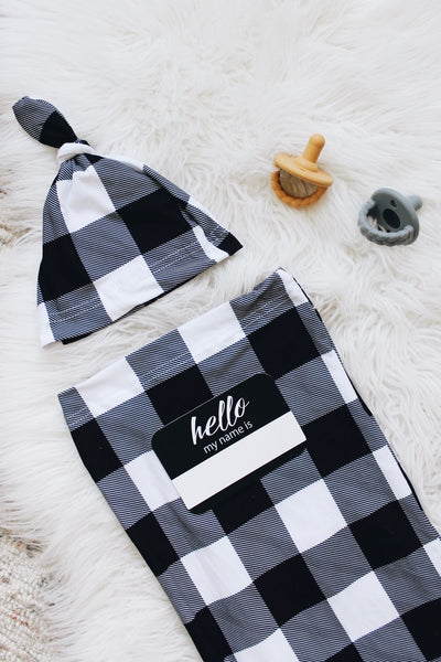 Cutie Cocoon - Black & White Gingham Set