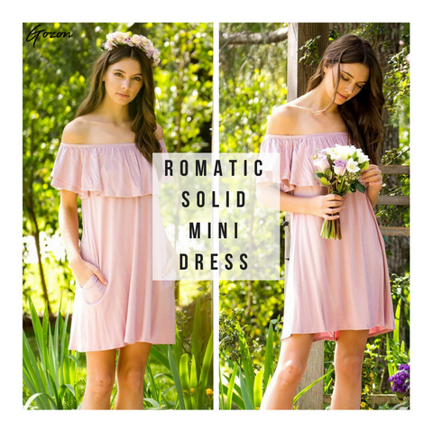 Romantic Solid Mini Dress - Romance Tones: New Arrivals - GOZONCOM - 2/03/2018