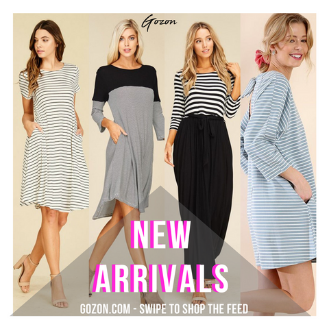 New Stripe Dresses - New Arrivals- Stripe Dress - GOZONCOM - 1/25/18