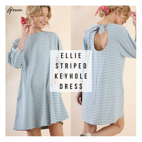 Ellie Striped Keyhole Dress - New Stripe Dress - GOZONCOM - 1/25/18