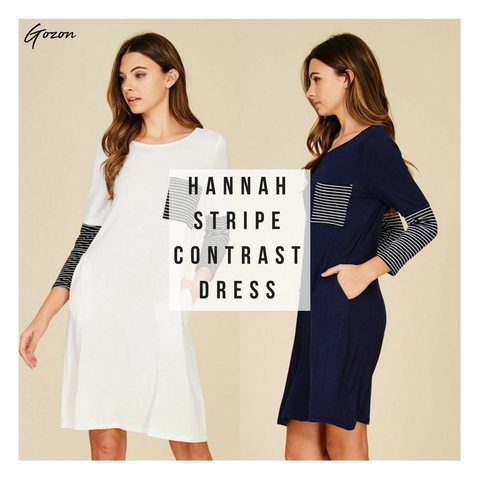 Hanna Stripe Contrast Dress - New Stripe Dress - GOZONCOM - 1/25/18