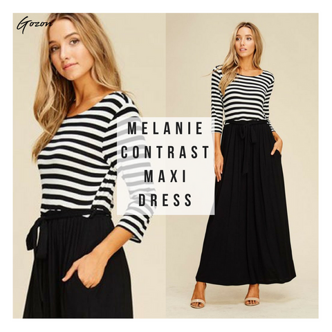 Melanie Contrast Maxi - New Stripe Dress - GOZONCOM - 1/25/18