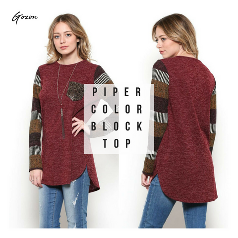 Piper Color Block Top - Casual Friday Work Fit - GOZONCOM - 1/26/18