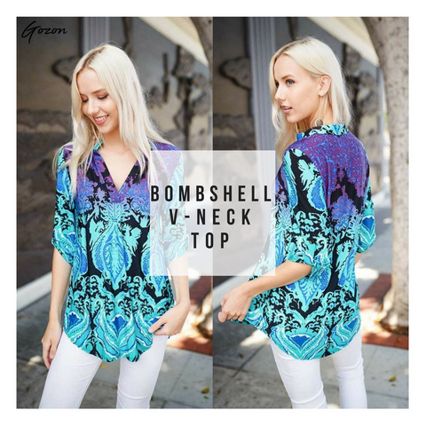 Bombshell V-Neck Top - Casual Friday Work Fit - GOZONCOM - 1/26/18