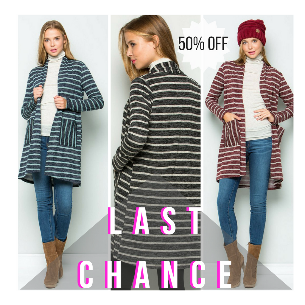 Zoey Stripe Cardigan - Last Chance - Casual Friday Work Fit - GOZONCOM - 1/26/18