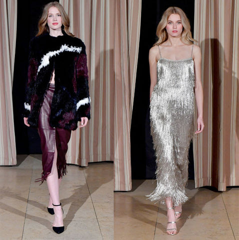 Silver Sequin Eveningwear and Furry Bordeaux Outfit Rachel Zoe Feb 2017