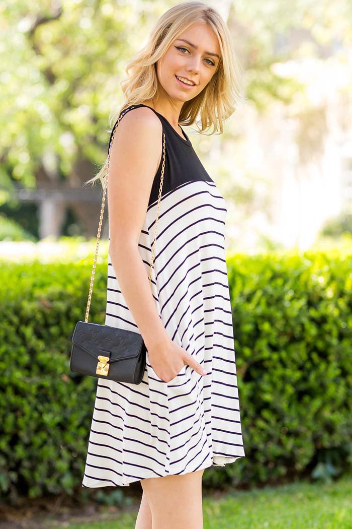 Stripe Color Block Dress - Mini - GOZON