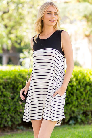Short Striped Sleeve Top