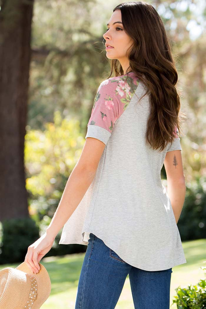 Floral Sleeve Top - shirts - GOZON