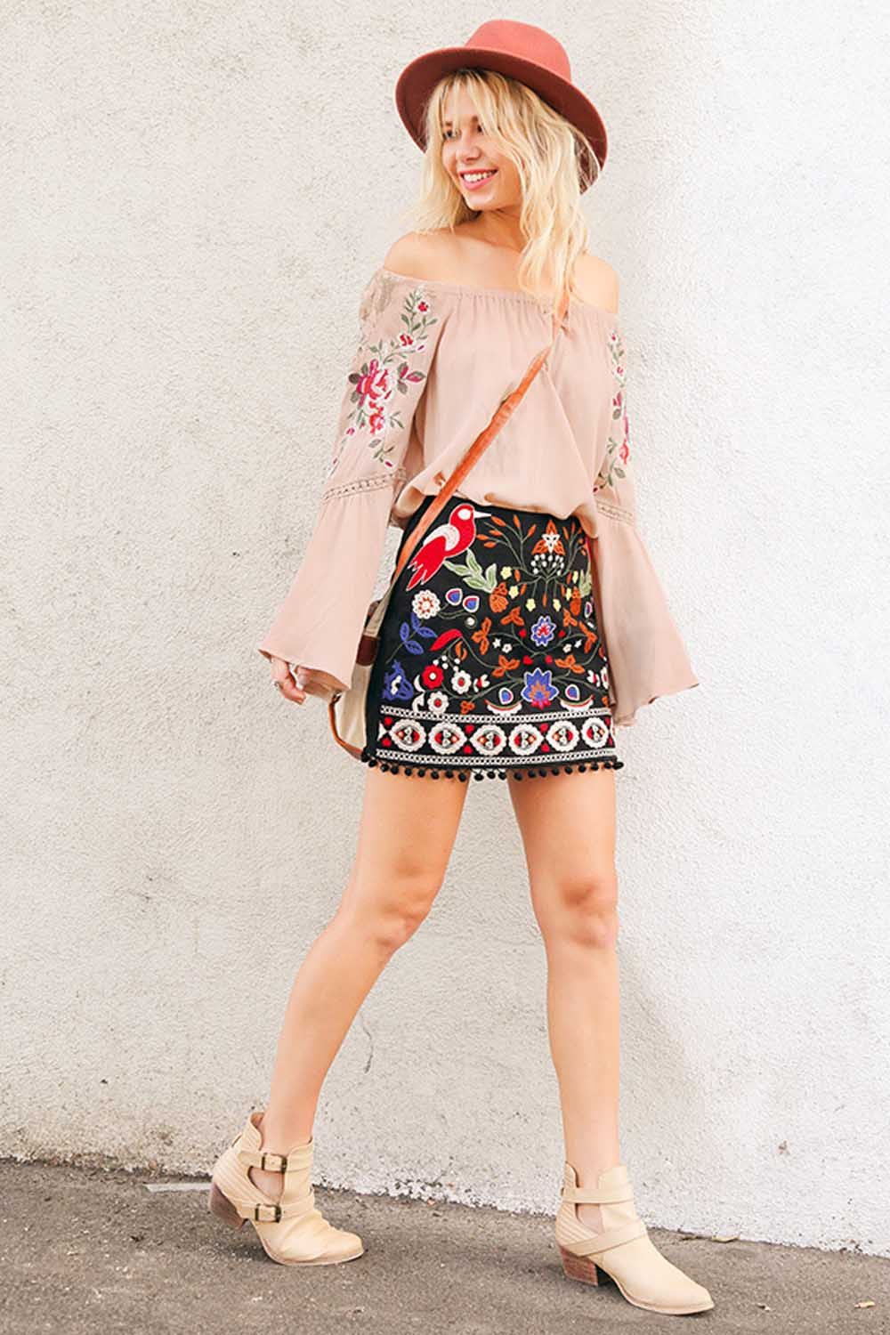 Floral and Lace Bell Sleeve Top - shirts - GOZON