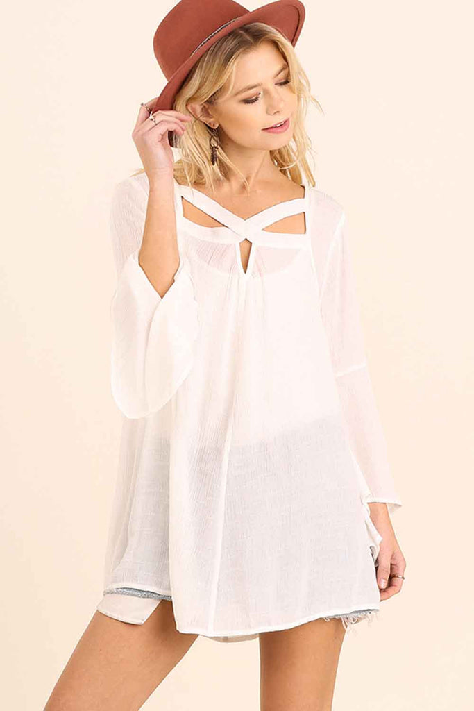 Bell Sleeve Cut Out Top - Tunics - GOZON