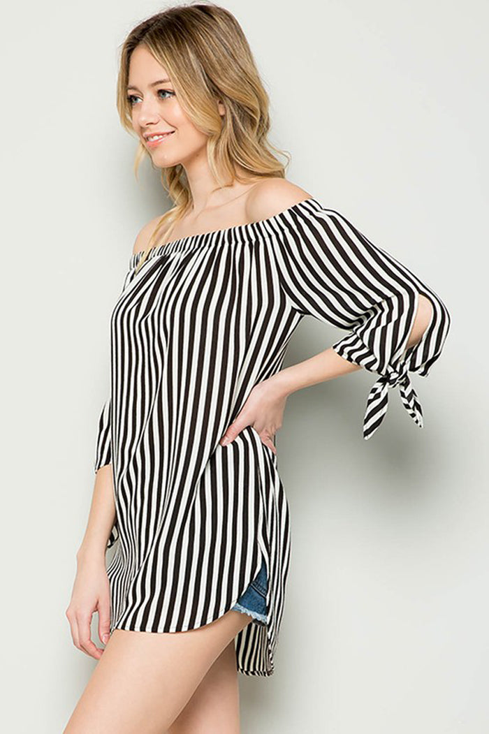 Amy Off Shoulder Tunic Top : Black