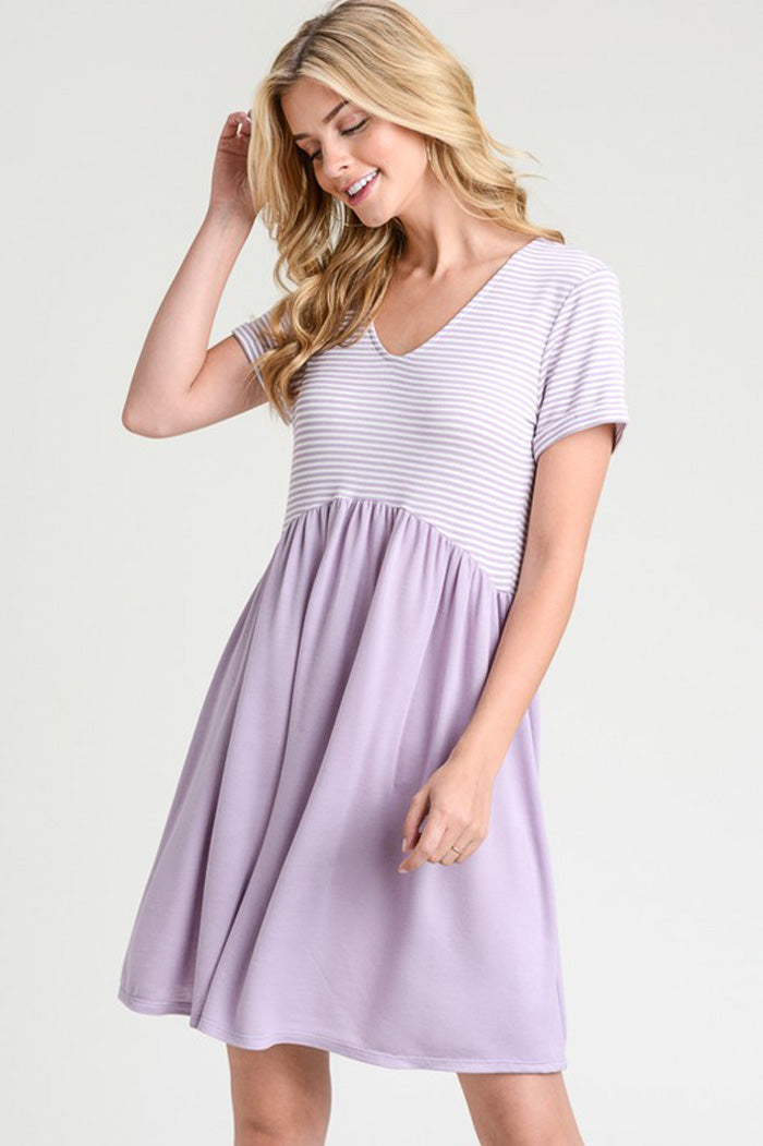 Ariana Stripe Babydoll Dress : Orchid