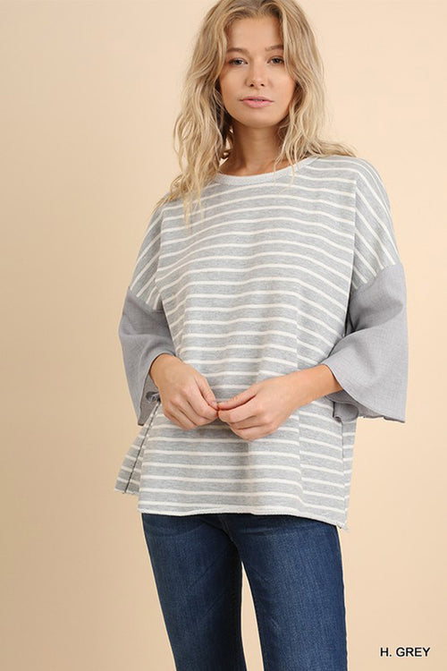 Piper Bell Sleeve Top : Heather Grey
