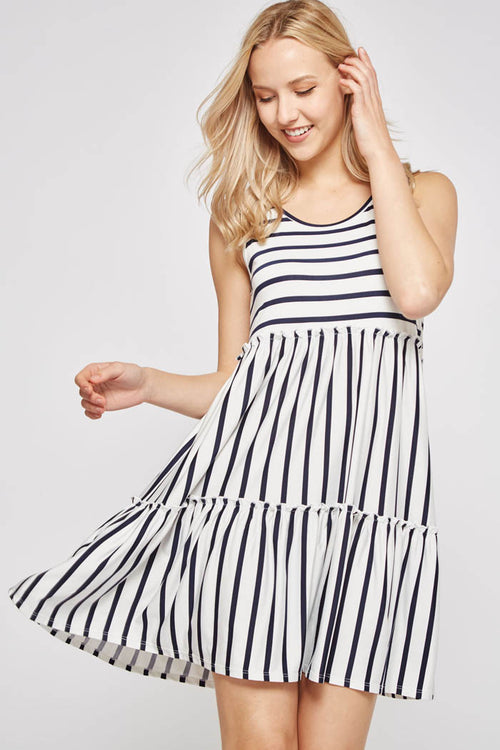 Maisy Stripe Layered Dress : Ivory/Black