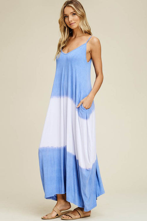 Heather Tie Dye Flowy Dress : Denim