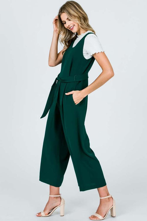 Mae Cropped Jumpsuits : Hunter Green
