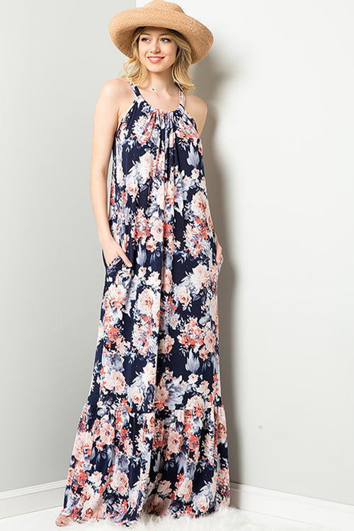 Paige Halter Neck Maxi Dress : Navy