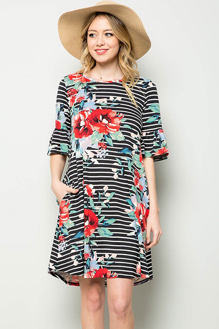 Carolyn Floral Midi Dress : Black
