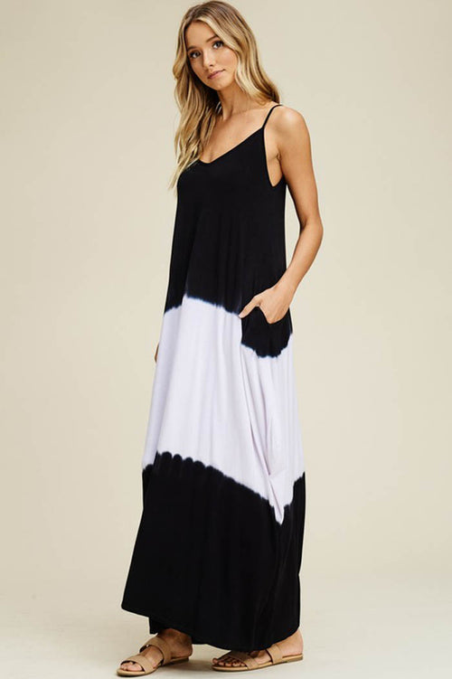Heather Tie Dye Flowy Dress : Black