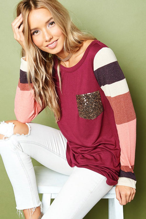 Melody Color Block Top : Burgundy