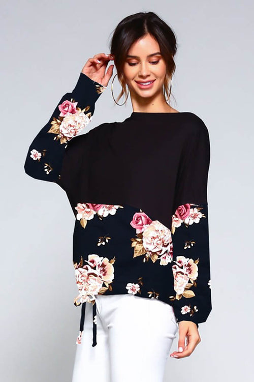 Luna Long Puff Sleeve Top : Black