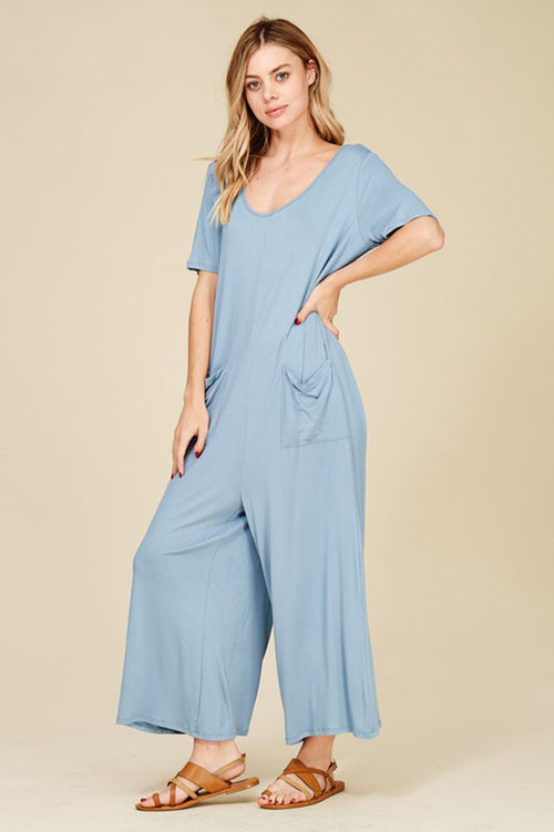 Harper Wide Leg Jumpsuits : Dusty Blue