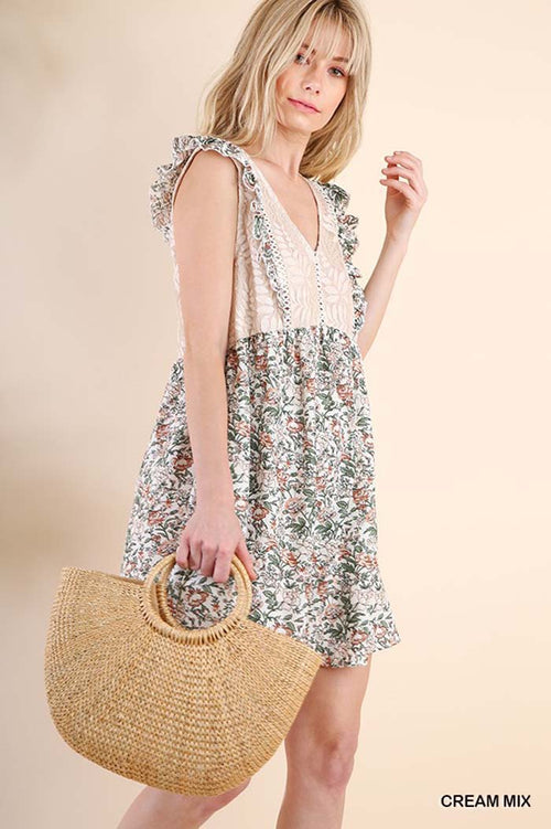 Sarah Floral Cute Dress : Cream