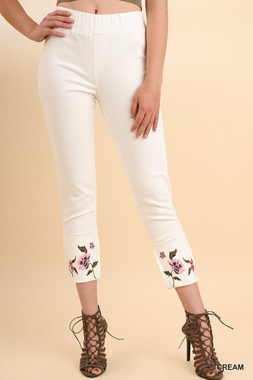 Vivian Floral Jeggings : Cream