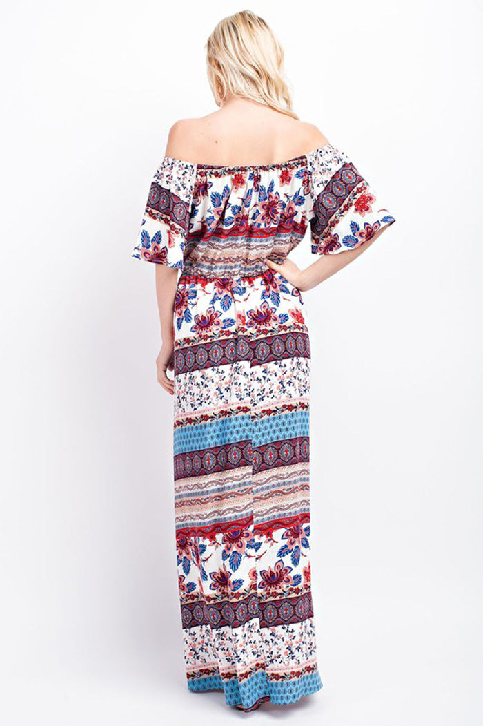 Susan Off Shoulder Maxi Dress : Off White