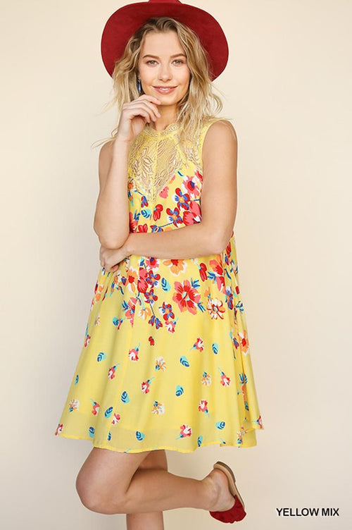 Clara Floral Mini Dress : Yellow