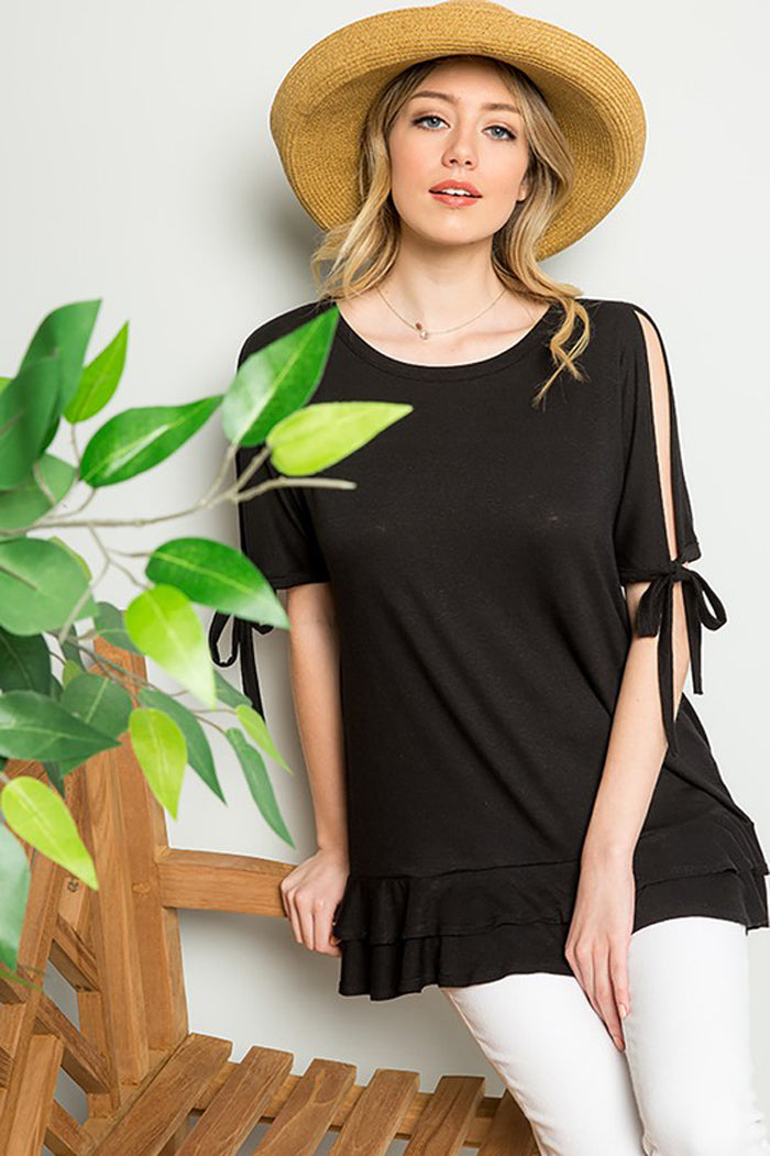 Ariah Cold Shoulder Tunic : Black