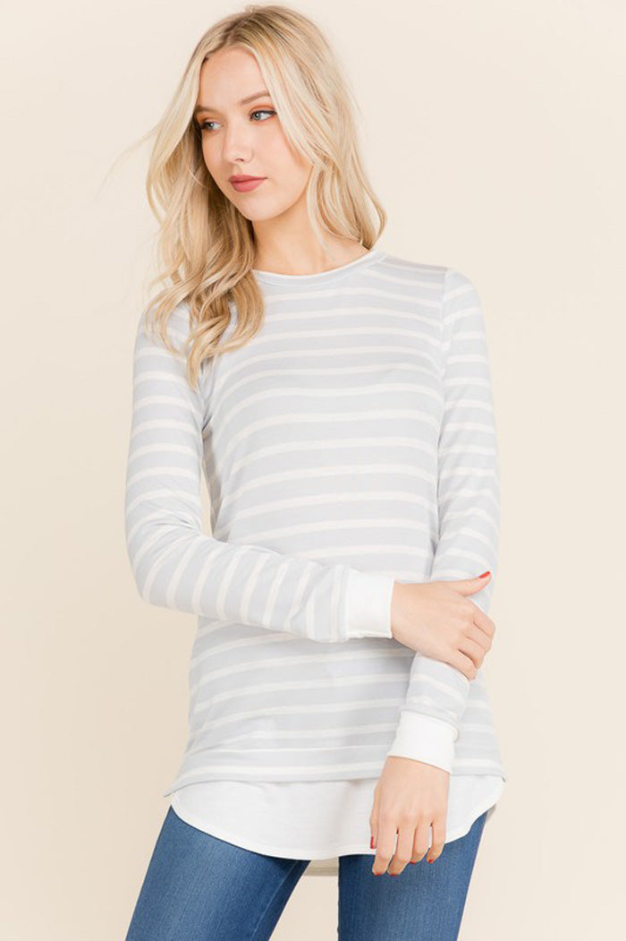 Mary Stripe Spring Top : Soft Grey