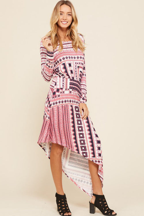 Felicia Geometric Print Bohemian Dress : Mauve