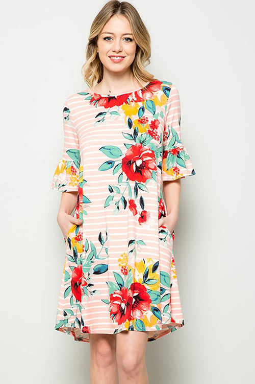 Carolyn Floral Midi Dress : Blush