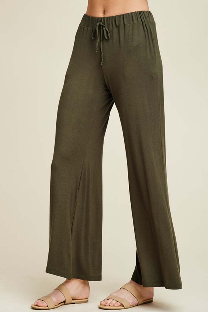 Izzy Lounging Wide Pants : Olive