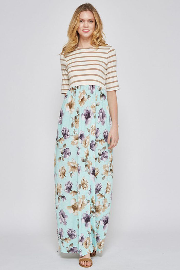 Hailey Stripe and Floral Maxi : Mocha/Mint
