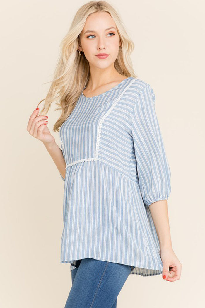 Brenda Stripe Tunic Top : Blue